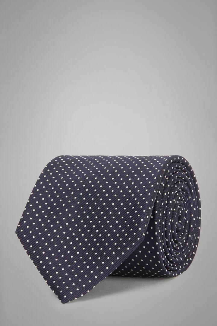 Cravatta Micro Pois In Seta Jacquard, Navy, hi-res