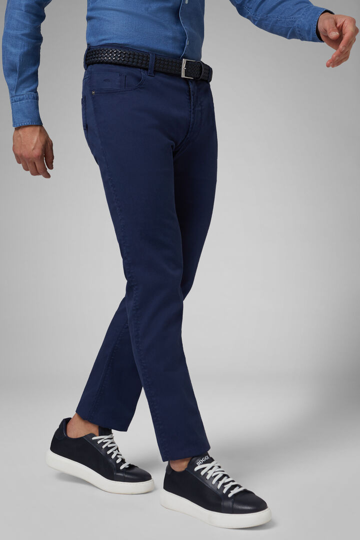 Regular Fit Cotton Gabardine/Tencel 5 Pocket Trousers, Navy blue, hi-res