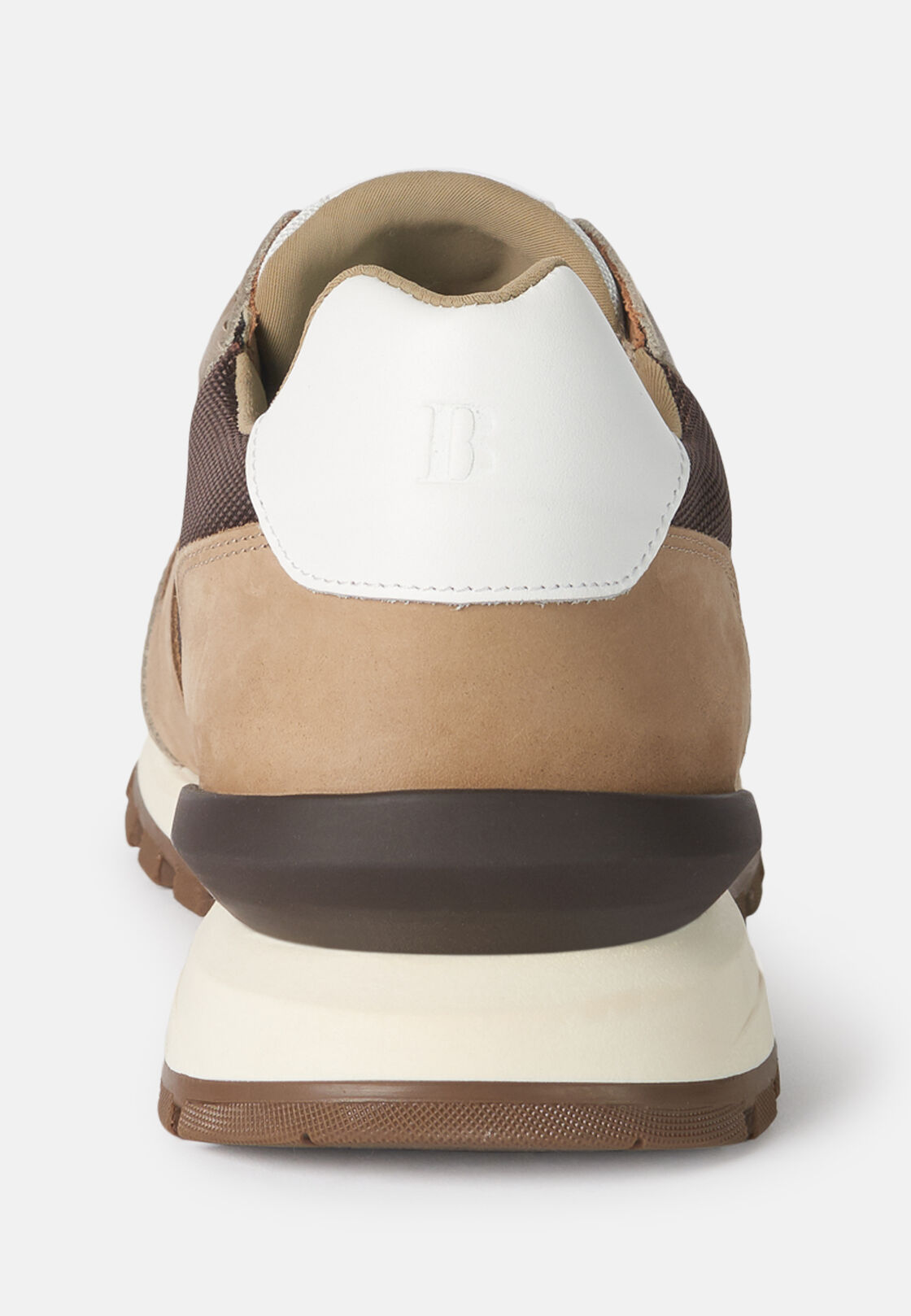 Sneakers beige in tessuto tecnico e pelle, Sabbia, hi-res