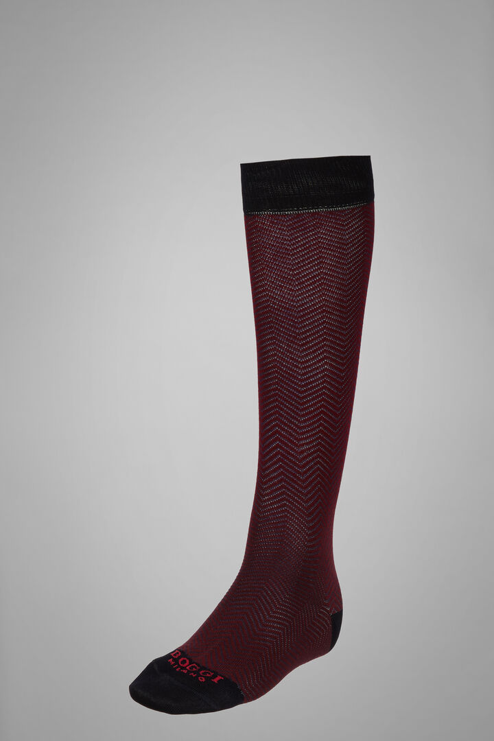 Long Socks With Macro Herringbone Motif, Navy - Burgundy, hi-res