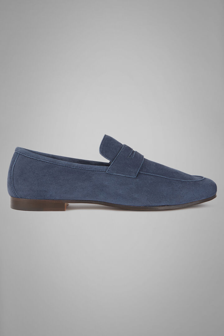 Breathable Suede Loafers, Navy blue, hi-res