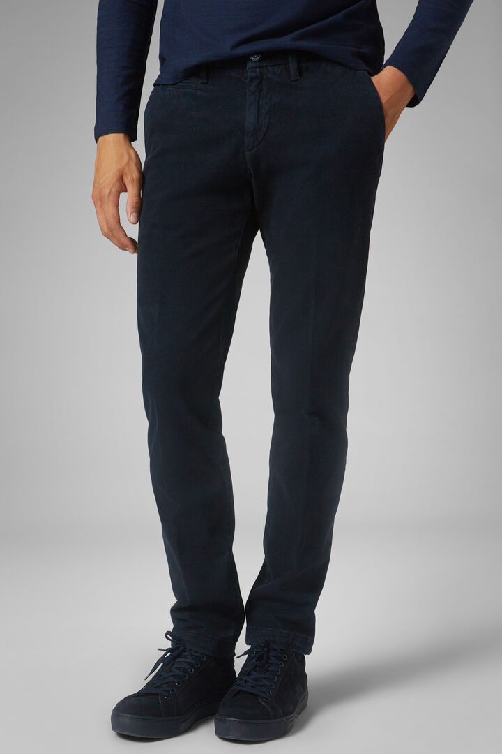 Pantalone In Cotone Tencel Broken Twill Slim, Navy, hi-res