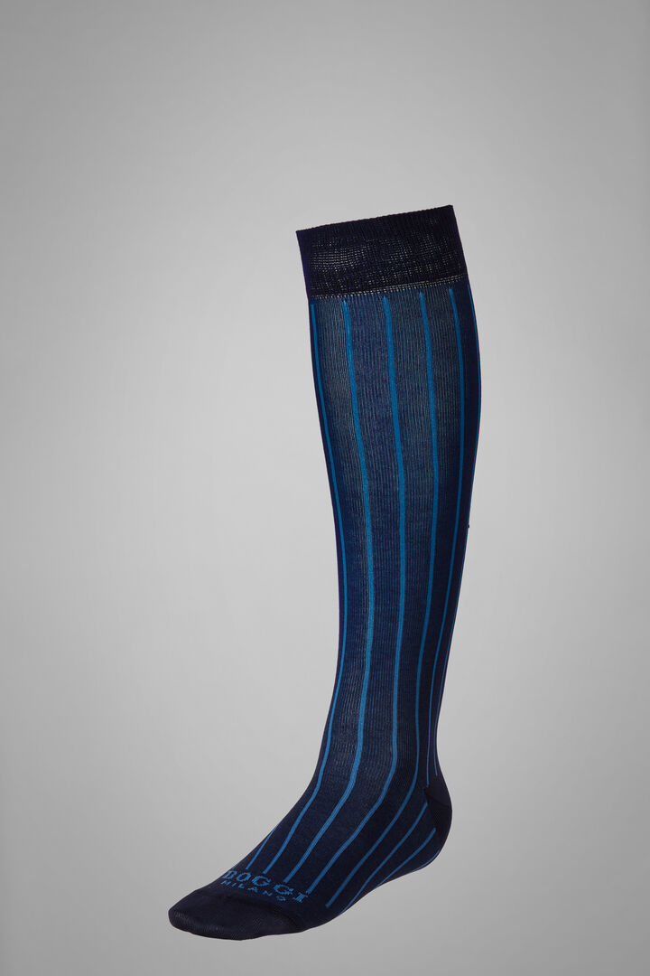 Long Socks With Contrasting Cuff, Navy - Light blue, hi-res