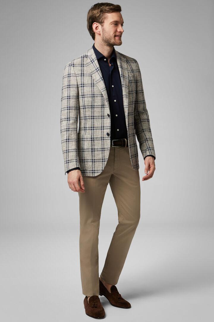 Beige Cotton/Linen/Wool Roma Blazer, Beige - Blue, hi-res