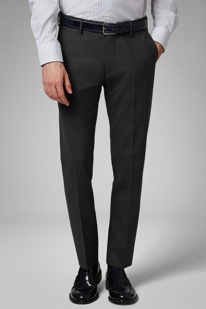 Pantalon En Laine Stretch Lavable Coupe Droite, Gris - Charbon, hi-res