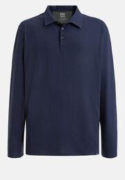 Poloshirt aus baumwolle und tencel regular fit lange ärmel, Navy blau, hi-res
