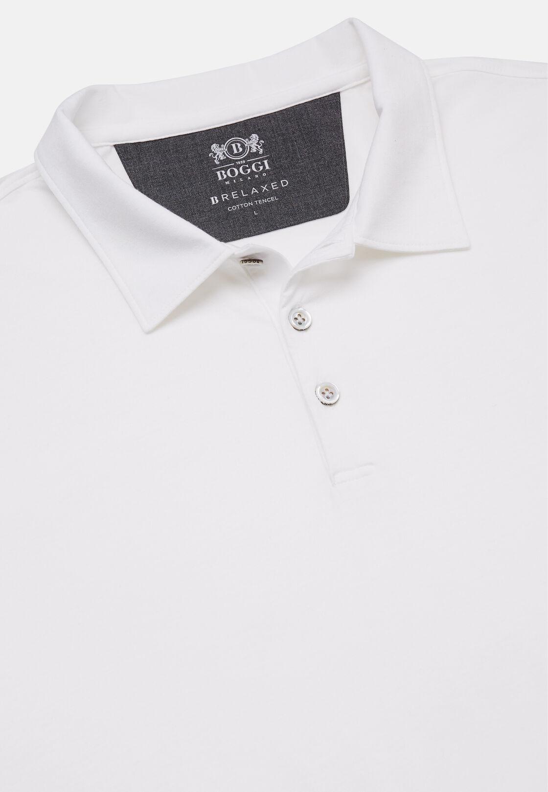 Poloshirt aus baumwolle und tencel regular fit lange ärmel, Weiß, hi-res