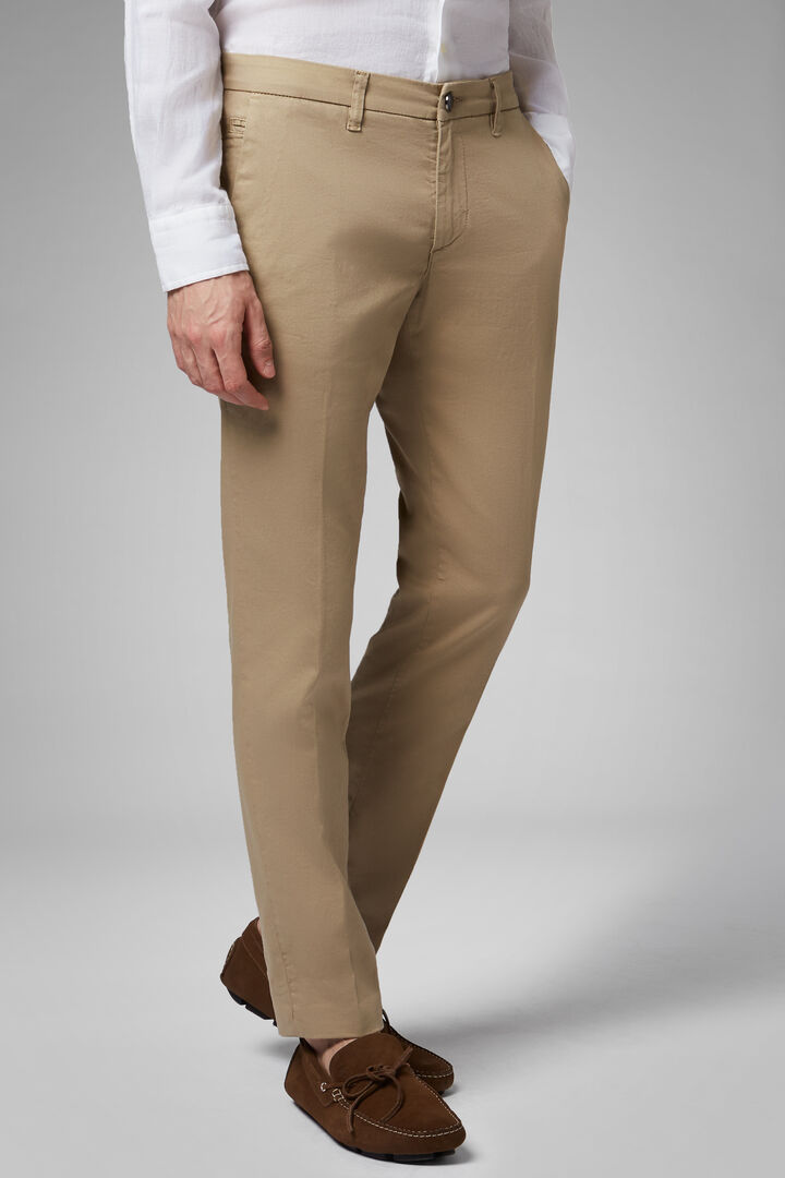 Washed-Out Effect Stretch Cotton/Tencel Trousers, Camel, hi-res