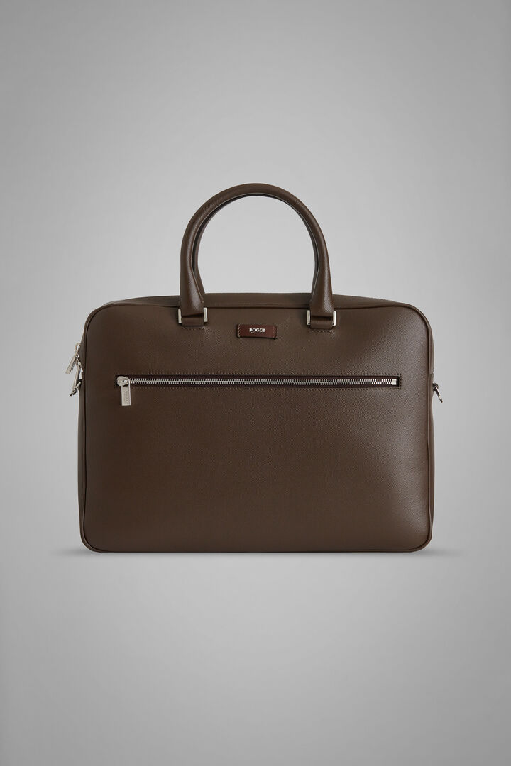 Caviar Leather Single-Zip Briefcase, Dark brown, hi-res
