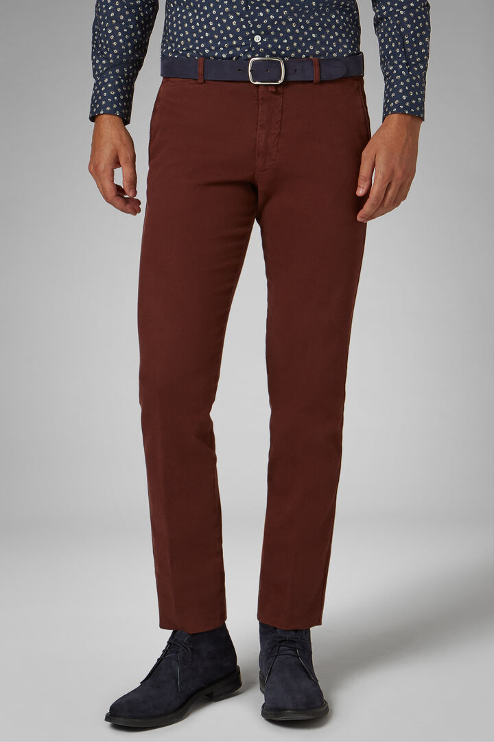 Pantalon En Coton Tencel Structuré Coupe Ajustée, Rouge brique, hi-res