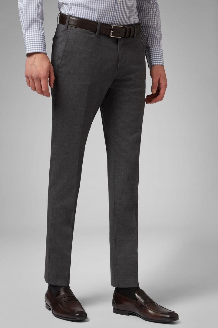 Pantalon En Laine Stretch Slim, gris moyen, hi-res