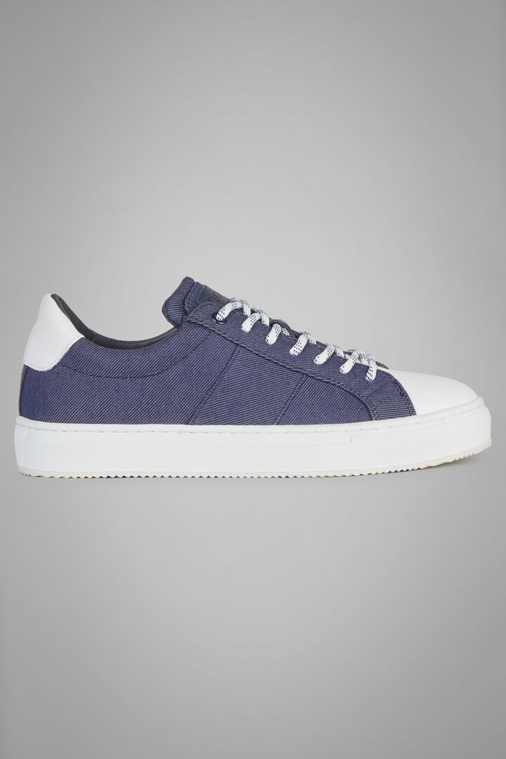 Sneaker In Canvas Con Dettagli In Pelle, Denim, hi-res
