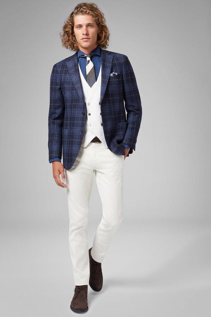 Blue Wool/Silk/Linen Mantova Blazer, Blue, hi-res