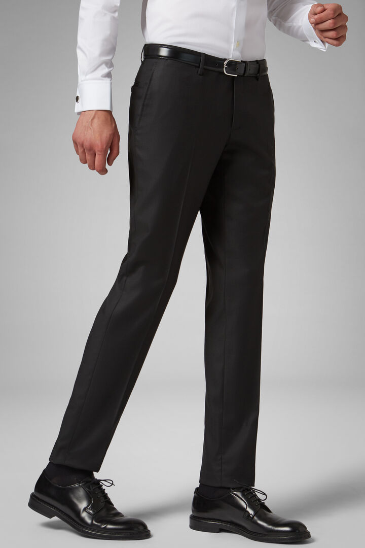 Regular Fit Charcoal Grey Wool Suit Trousers, Charcoal, hi-res