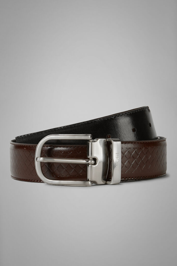 Reversible Woven Leather Belt, Dark brown - Black, hi-res