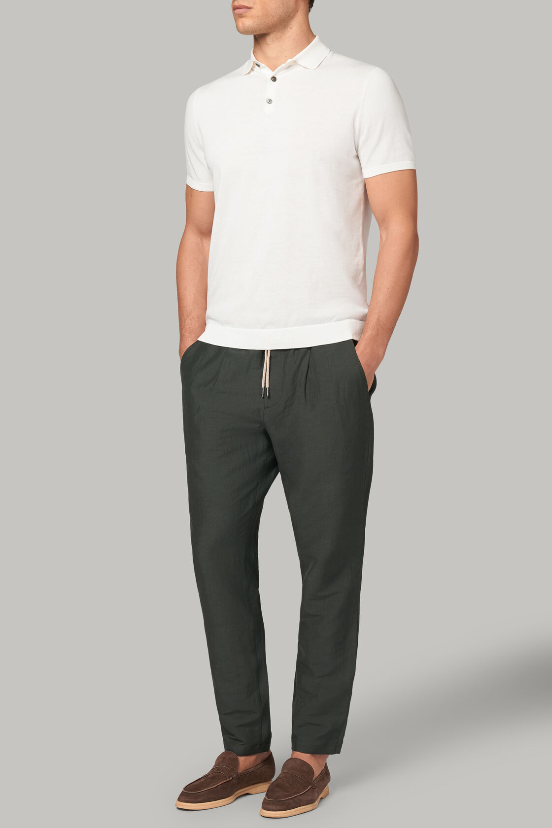 Hose aus elastischem leinen regular fit, Grün, hi-res