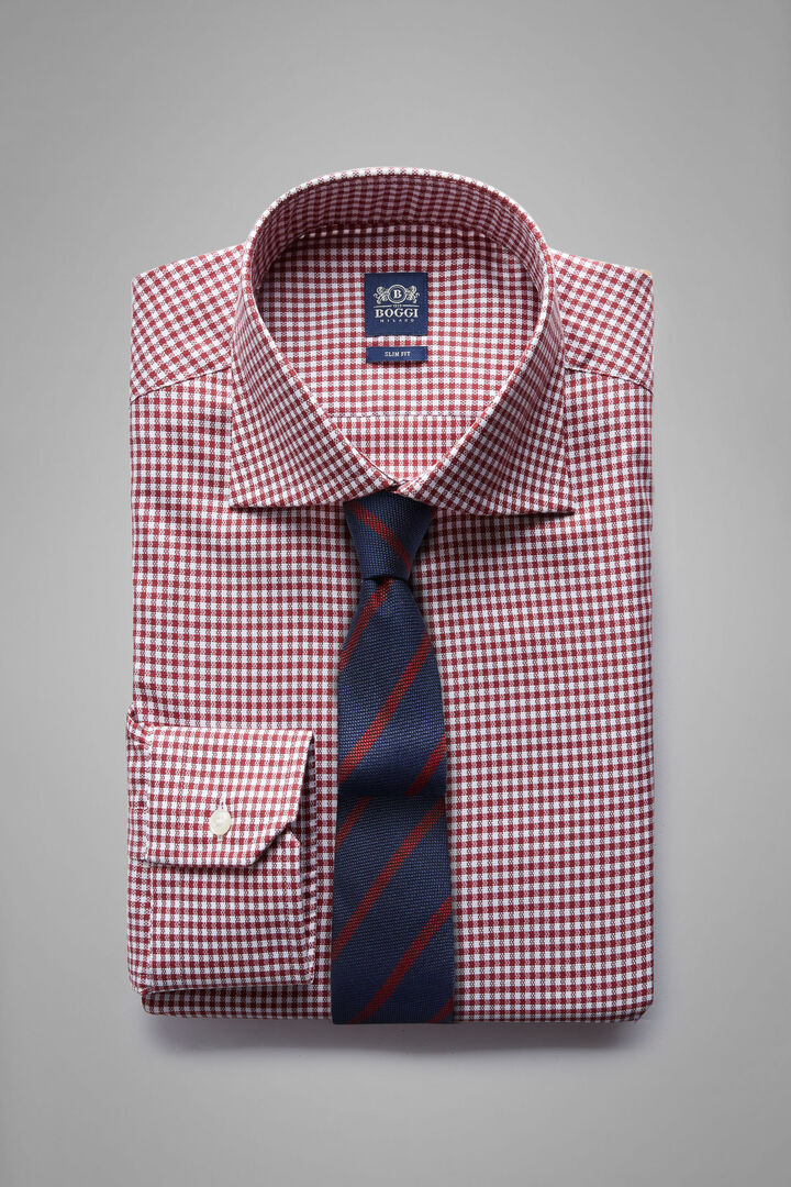 Slim Fit Burgundy Checked Shirt With Windsor Collar, Burgundy, hi-res