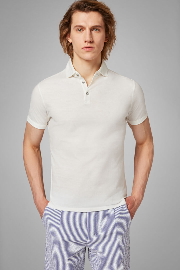 White Cotton/Linen Jersey Polo Shirt, White, hi-res