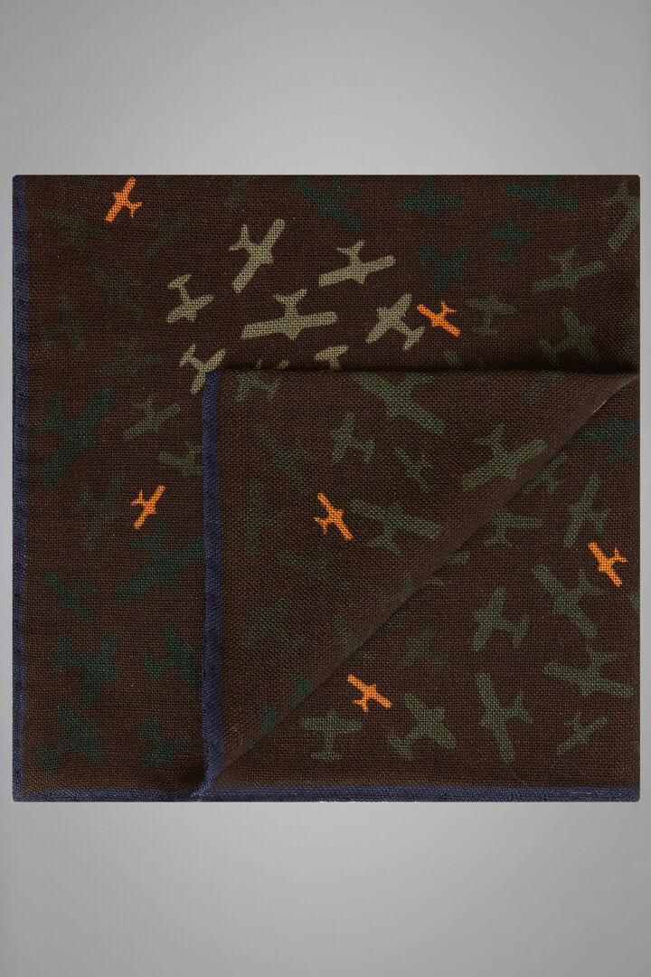 Aeroplane Print Wool/Silk Pocket Square, Dark brown, hi-res