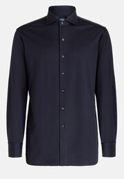 Polo camicia in jersey di cotone slim fit, Navy, hi-res