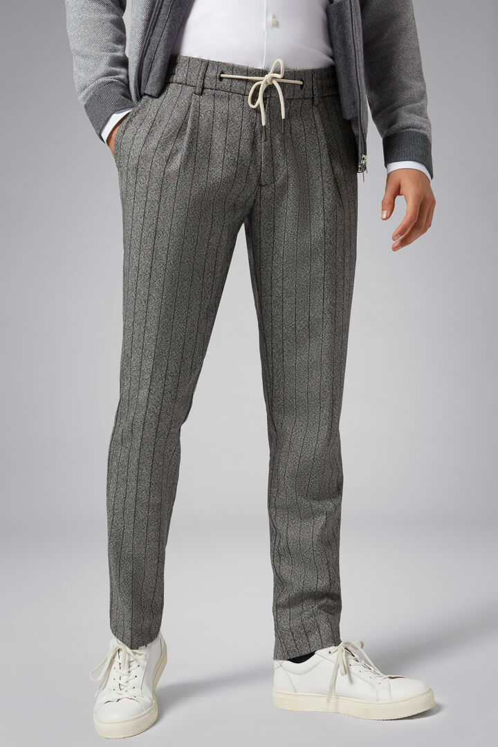Slim Fit Pinstripe Knickerbocker Flannel Trousers, Grey, hi-res