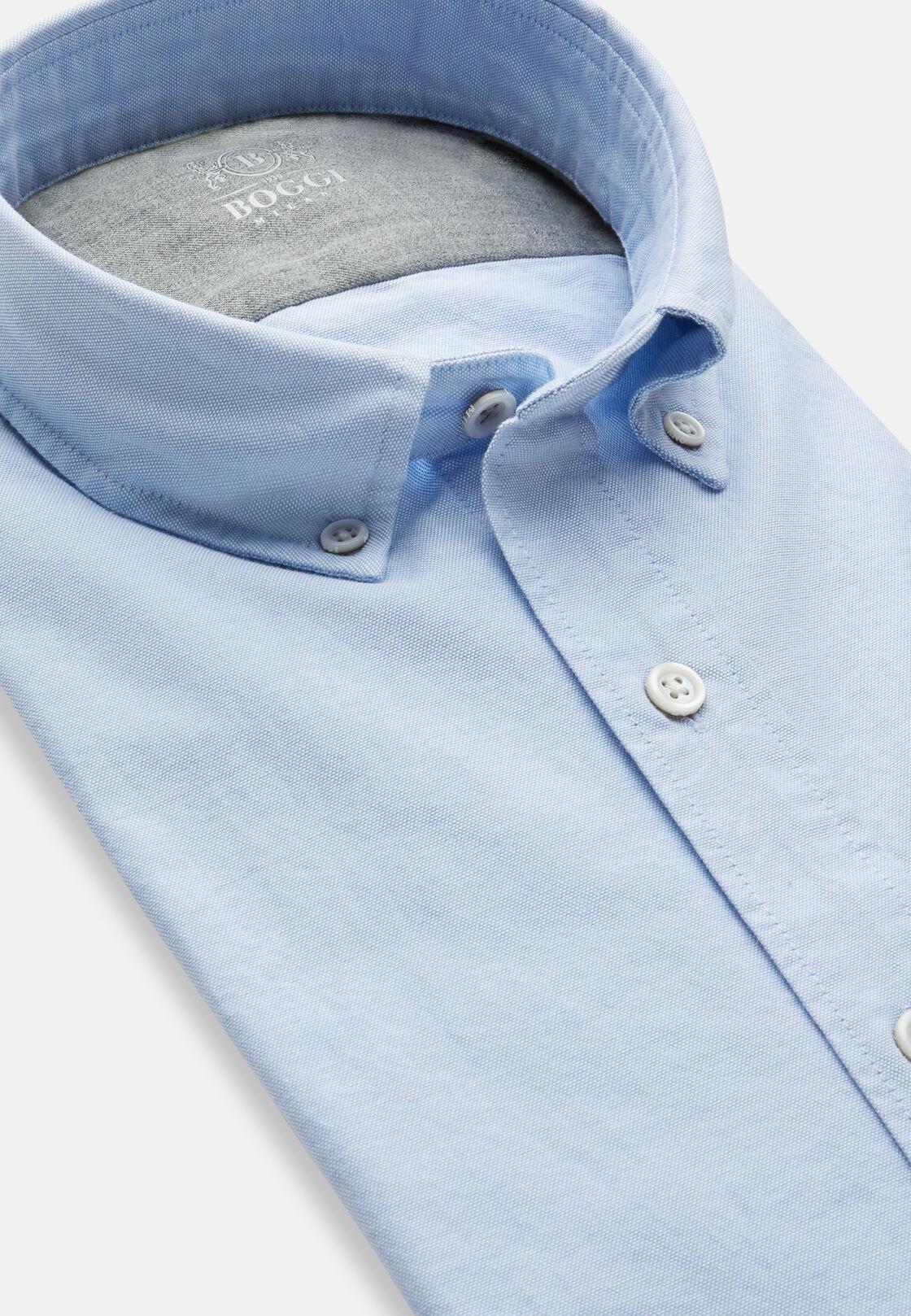 Azurblaues botton -down-kragen hemd aus elastischer oxford-baumwolle regular fit, Hellblau, hi-res