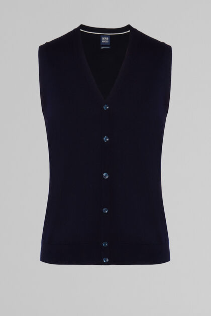 PIMA COTTON KNITTED GILET, NAVY BLUE, hi-res