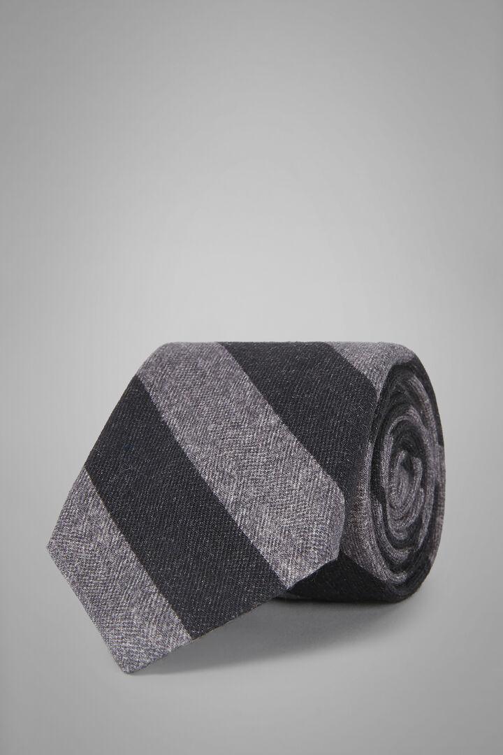 Gemusterte Krawatte Aus Seide Mit Musterdruck, Holzkohle, hi-res