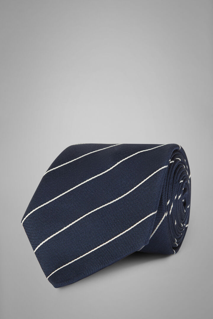 Regimental Silk Jacquard Tie, Blue, hi-res