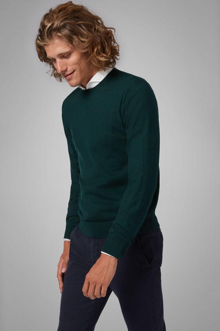 Pullover Mit Rundhalsausschnitt Aus Merinowolle Extrafein, Grün, hi-res