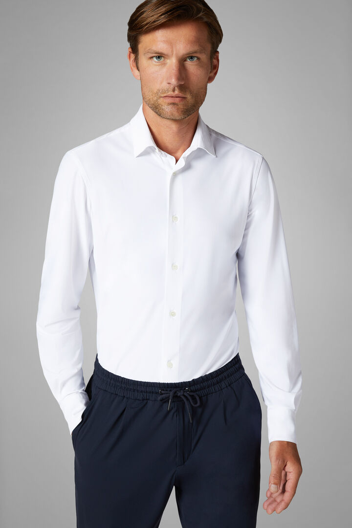 Slim Fit White Shirt With Tokyo Collar, White, hi-res