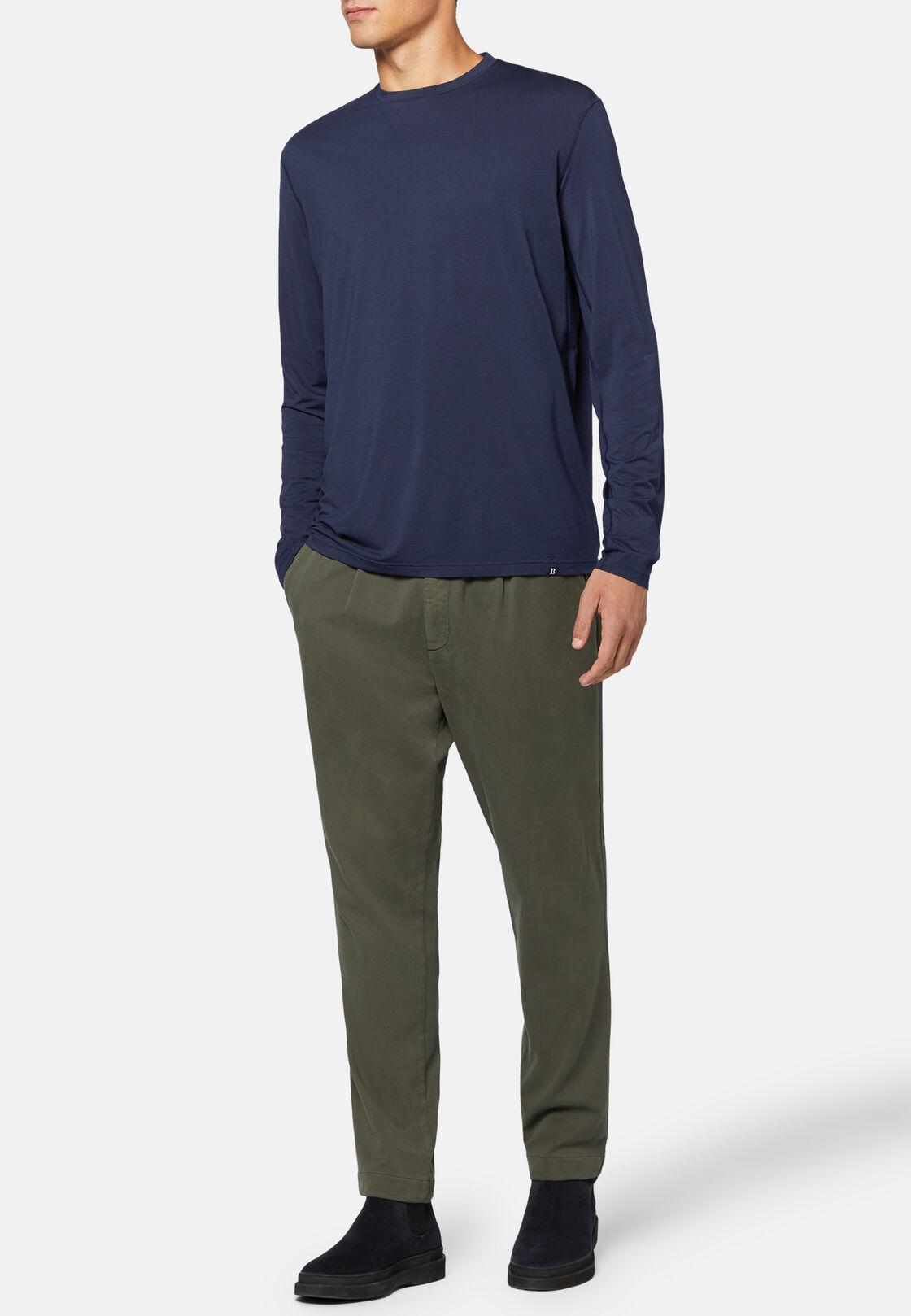 T-shirt aus elastischem modal carbon lange ärmel, Navy blau, hi-res