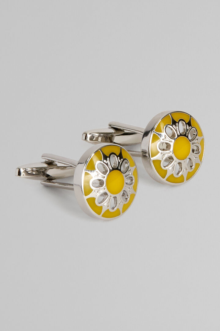 Coloured Metal Round Floral Cufflinks, Yellow, hi-res