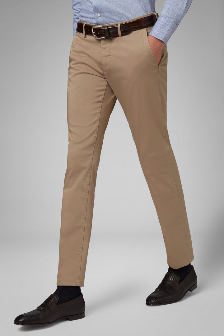 Slim Fit Stretch Cotton Satin Trousers, Beige, hi-res