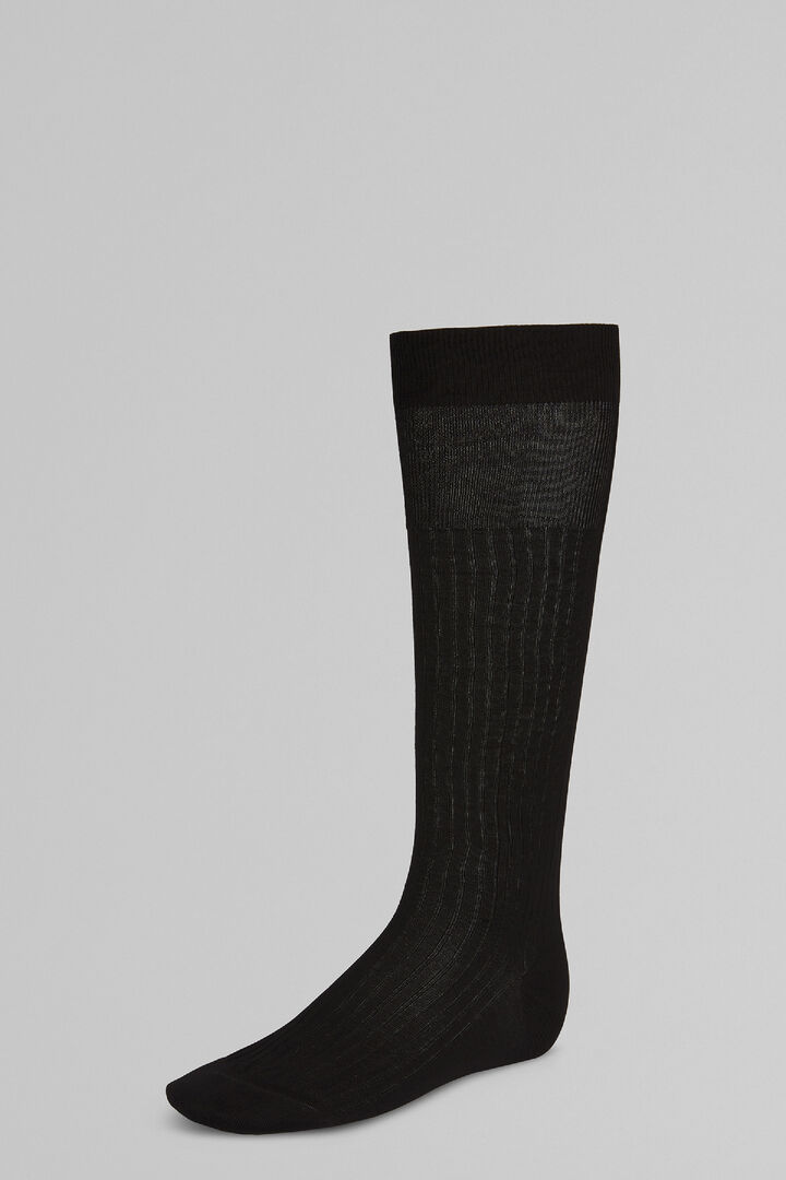 Ribbed Long Socks, Black, hi-res