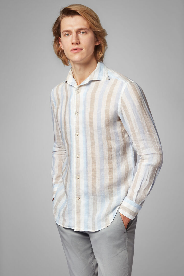 Regular Fit Sky Blue/Beige Striped Print Shirt With Cuban Collar, Light blue - Beige, hi-res