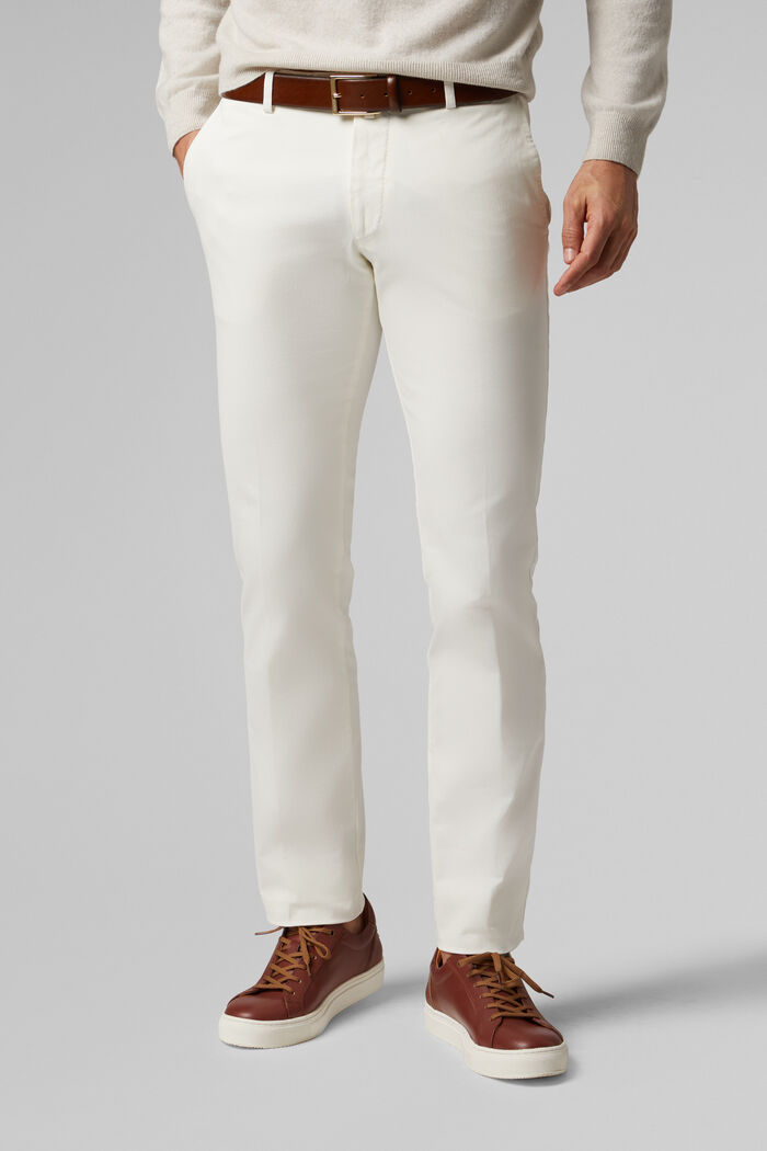 STRETCH COTTON TRICOTINE TROUSERS, , hi-res