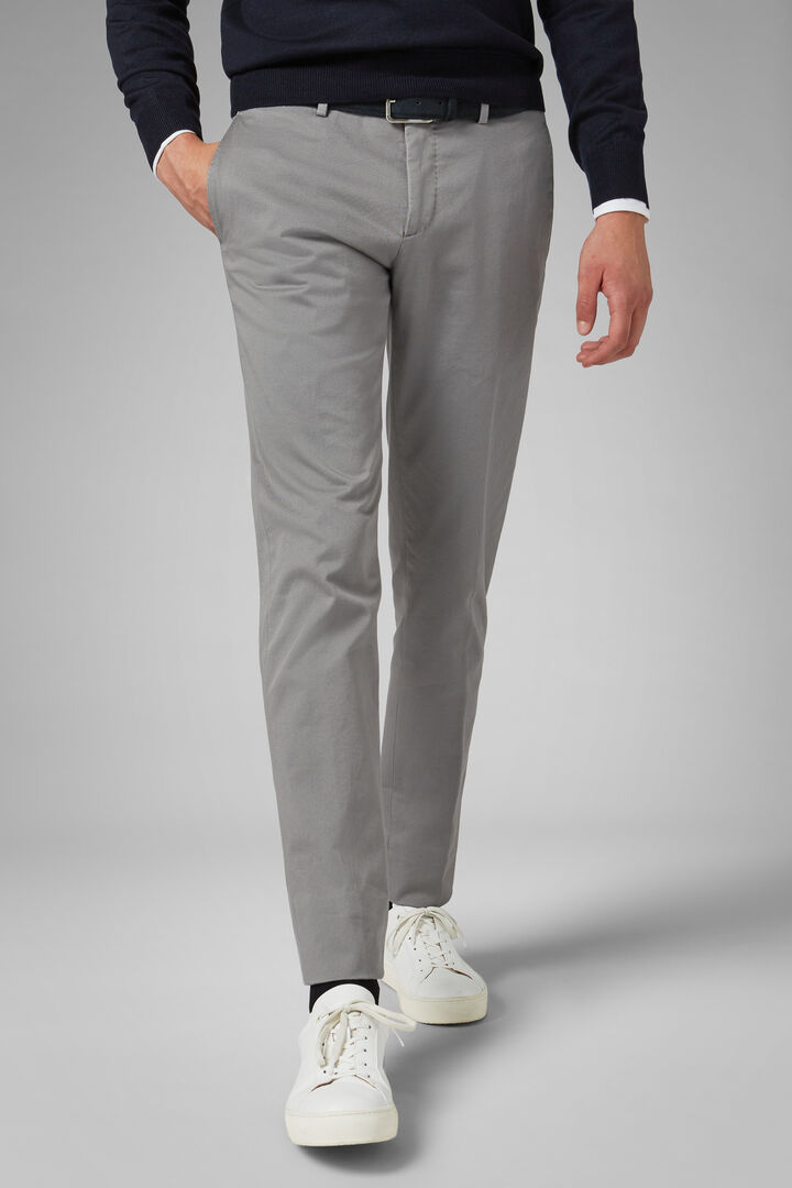Slim Fit Stretch Cotton Gabardine Trousers, Grey, hi-res