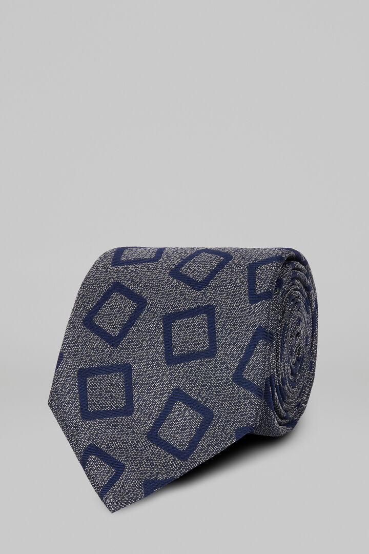 Macro Patterned Silk Jacquard Tie, Grey - Blue, hi-res