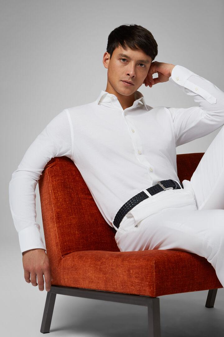 Chemise Polo Blanche À Col Fermé Coupe Droite, blanc, hi-res