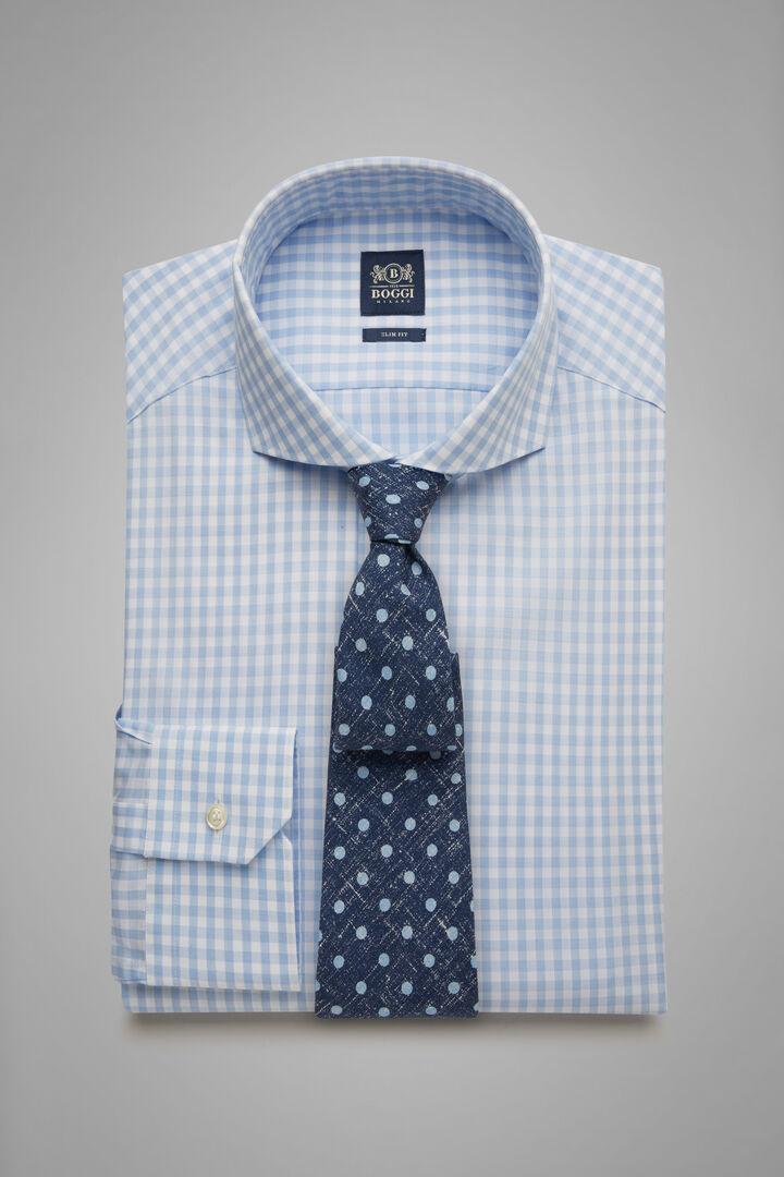 Slim Fit Sky Blue Gingham Shirt With Naples Collar, Light blue, hi-res