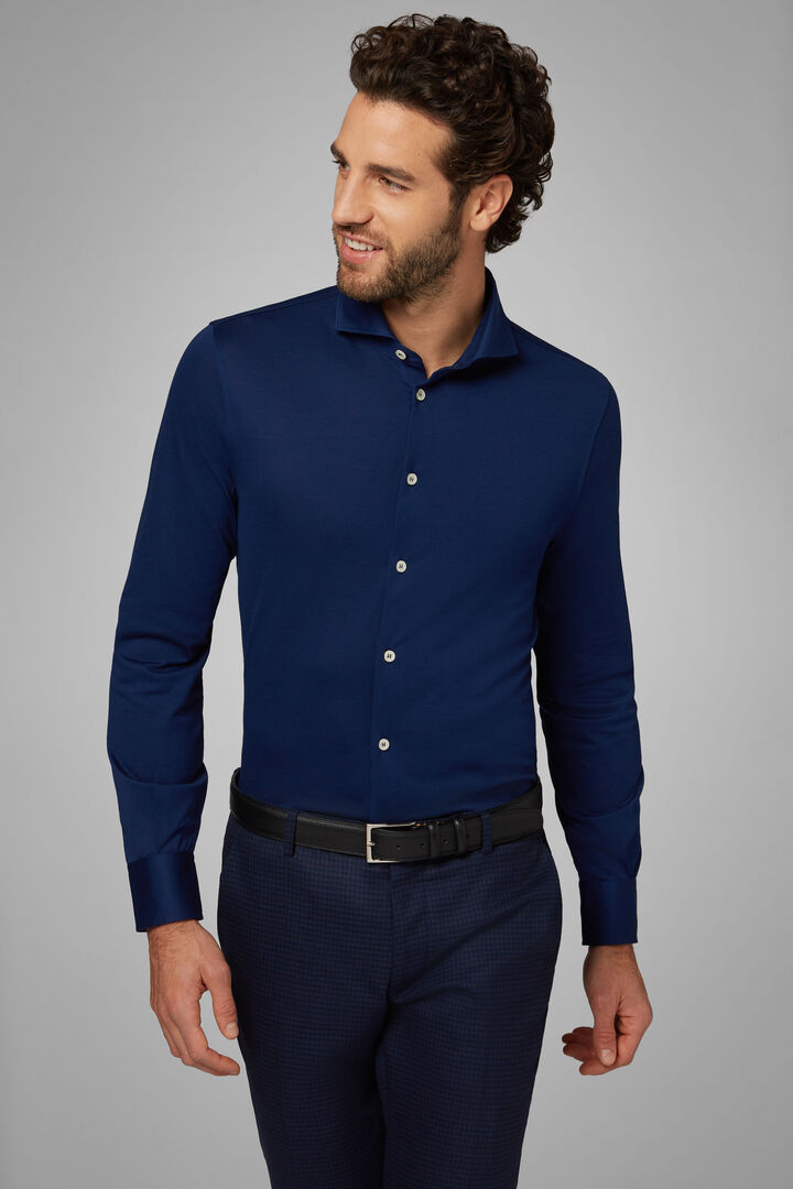 Slim Fit Cornflower Blue Casual Shirt With Open Collar, Bluette, hi-res