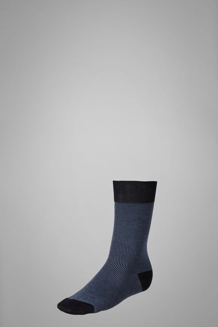 Calza Corta Motivo Mille Righe, Navy - Azzurro, hi-res