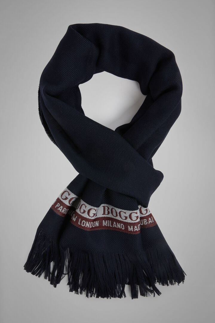 Wool/Cotton Selvedge Scarf, Navy blue, hi-res