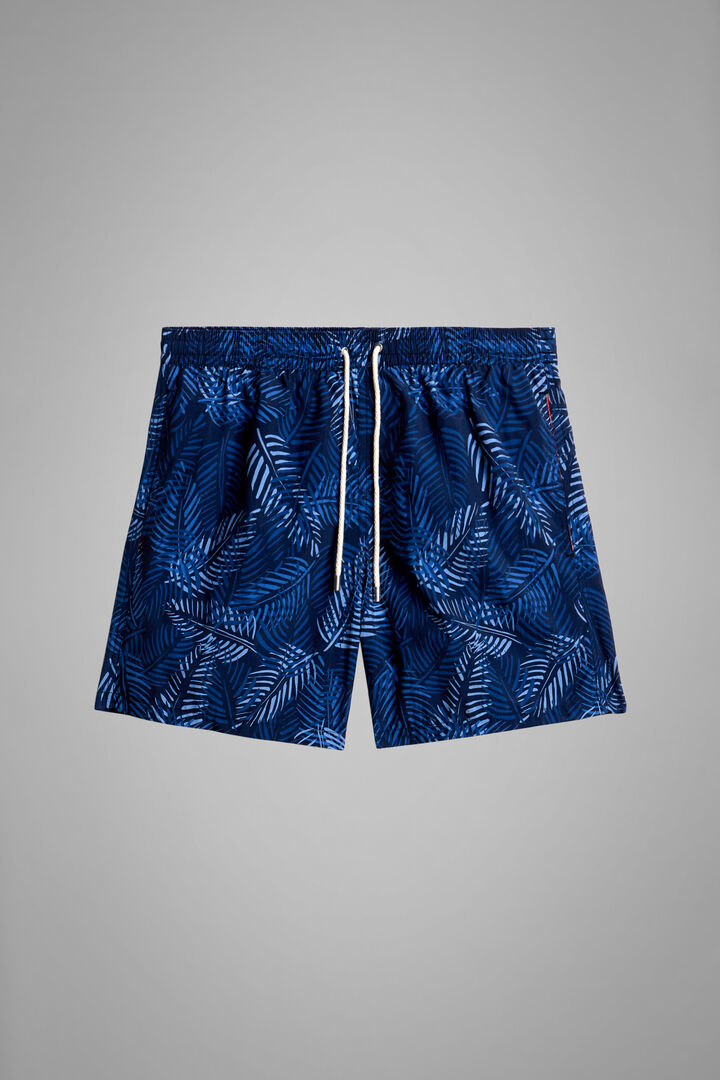 Blue Camouflage Print Swimming Trunks, Blue, hi-res