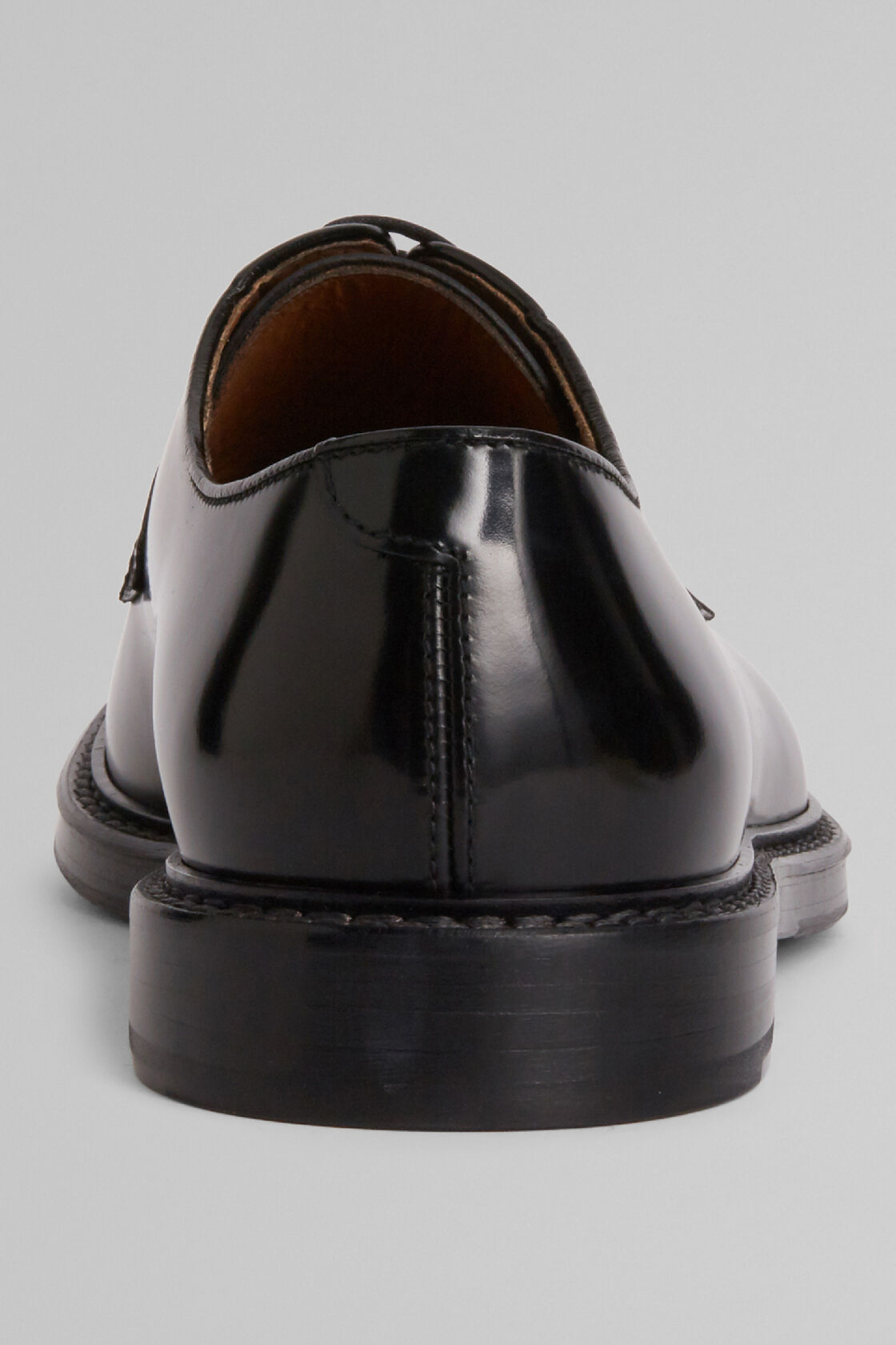 Smooth Leather Derby Shoes, Black, hi-res