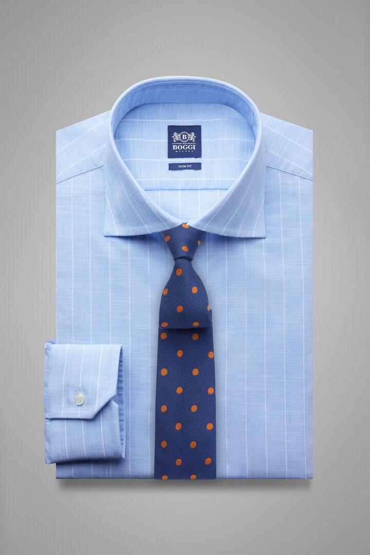 Camicia Gessata Azzurra Collo Windsor Slim Fit, Azzurro, hi-res