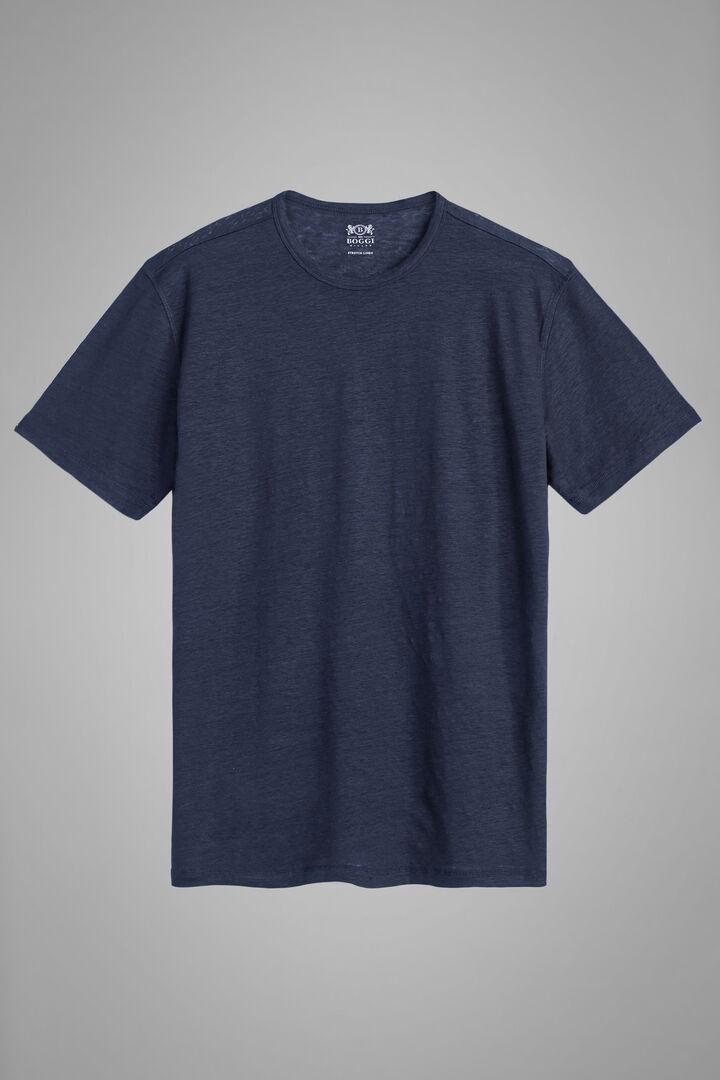 Navy Blue Stretch Linen Jersey T-Shirt, Navy blue, hi-res