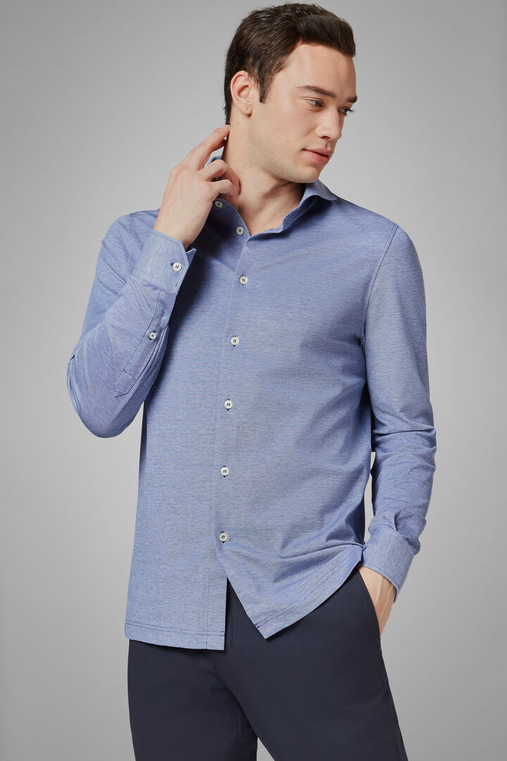 Slim Fit Blue Casual Shirt With Open Collar, Blue, hi-res
