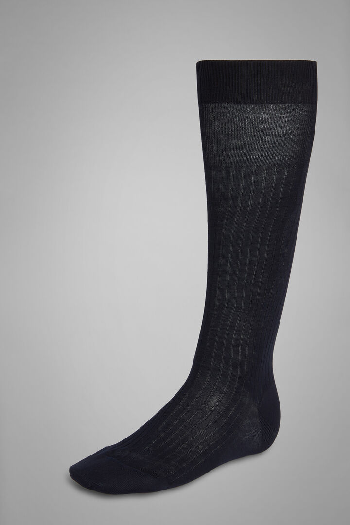 Ribbed Long Socks, Blue, hi-res